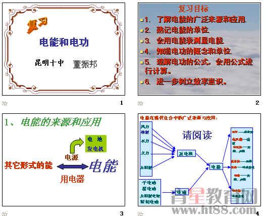 本课件从电能的应用,电能表的使用,电功的计算等方面进行复习.