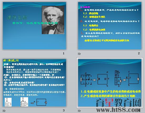共21张,主要展示了新课提问、感应电动势和感应电流、探究感应电动势大小的因素、实验分析、法拉第电磁感应定律、导体作切割磁感线运动电动势计算、公式比较、小结,有讲有练,可用于该内容教学展示。   【物理】4.4《法拉第电磁感应定律》相关素材(新人教版选修3-2)   【物理】4.