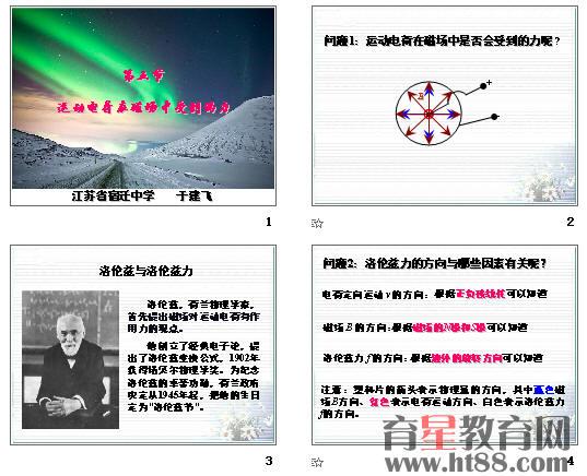 洛伦兹力--导学案.doc 洛伦兹力--教后反思.doc 洛伦兹力--教学设计.doc 洛伦兹力--课件.ppt 共12张,主要展示了运动电荷在磁场中是否受到力、洛伦兹和洛伦兹力、洛伦兹力的方向、洛伦兹力的大小,可用于该内容教学展示。   《运动电荷在磁场中受到的力》教学设计   一、教学设计思路   本设计课题是运动电荷在磁场中受到的力,人民教育出版社的《普通高中课程标准实验教科书》(选修3-1),物理第三章第5节内容,该课题放在通电导线在磁场中受到的力内容之后,意味教材引导教师利用安培力导出洛