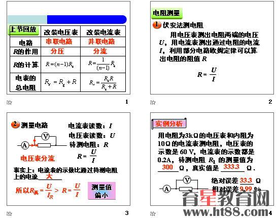 高中物理选修3-1串联电路和并联电路 教案.doc 高中物理选修3-1串联电路和并联电路课件(30张).ppt 课件共30张,教案约2510字。   串联电路和并联电路教案   【教学目标】   1、了解串并联电路中电压、电流、电阻的关系。   2、知道常用的电压表和电流表都是由小量程的电流表改装而成的。   重点:1、串、并联电路的规律   2、知道常用的电压表和电流表的改装   难点:电压表和电流表都是由小量程的电流表改装   【自主预习】   一。串联和并联   如图1所示,把几个导体,接入电路,